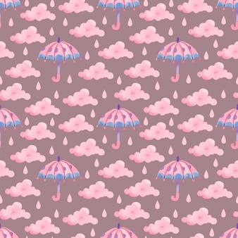 Modèle aquarelle avec parapluie rose et gouttes de pluie sur fond violet