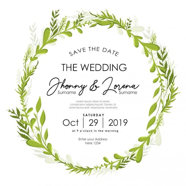 Modèle d'aquarelle pour cadre d'invitation de mariage floral feuille