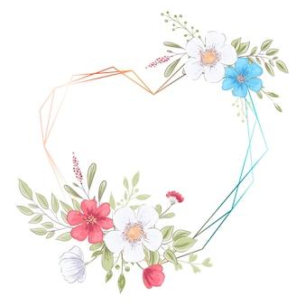 Modèle d'aquarelle pour une fête de mariage d'anniversaire avec des fleurs et un espace pour le texte