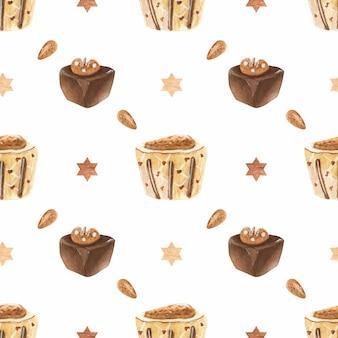 Modèle d'aquarelle romantique sucré avec des bonbons au chocolat