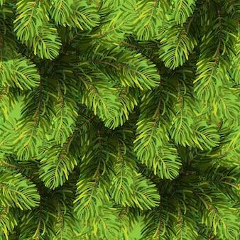 Modèle d'arbre de noël sans soudure fond d'hiver fait de sapin vert branches de pin
