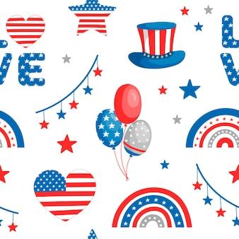 Modèle avec des arcs-en-ciel jour de l'indépendance des états-unis 4 juillet