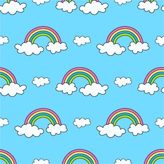 Modèle avec des arcs-en-ciel et des nuages sur le ciel