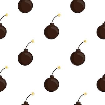 Modèle d'arme sans soudure isolé avec de simples silhouettes de bombes brunes. fond blanc. parfait pour la conception de tissus, l'impression textile, l'emballage, la couverture. illustration vectorielle.