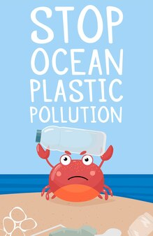 Modèle arrêter la pollution plastique de l'océan un crabe avec un signe et une bouteille en plastique