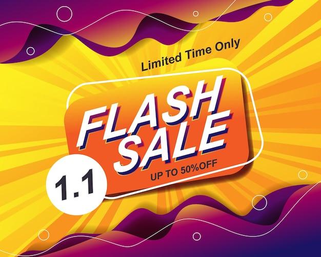 Modèle d'arrière-plan de bannière de vente flash pour l'événement de vente 1.1