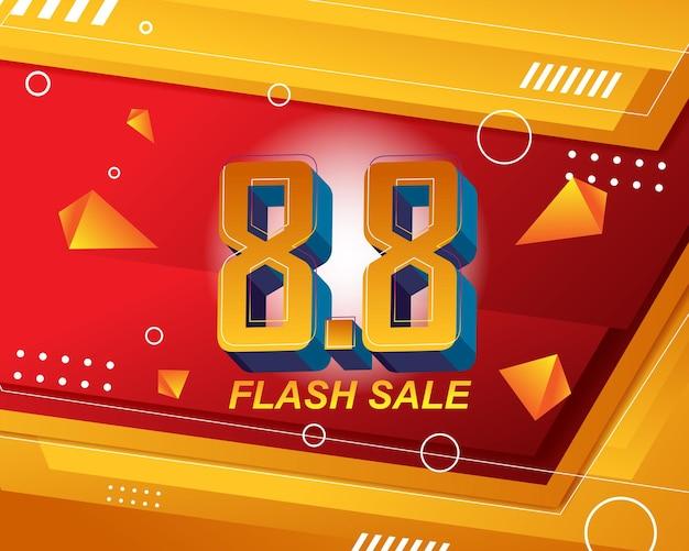 Modèle d'arrière-plan de bannière de vente flash pour l'événement de vente 8.8