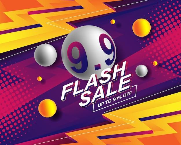 Modèle d'arrière-plan de bannière de vente flash pour l'événement de vente 9.9