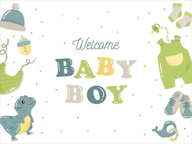 Modèle d'arrière-plan bébé garçon en bleu pour la promotion du site web boutique bébé