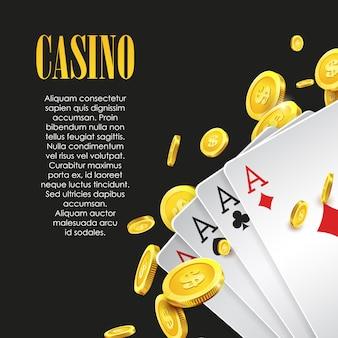 Modèle d'arrière-plan ou de flyer d'affiche ou de bannière de casino.