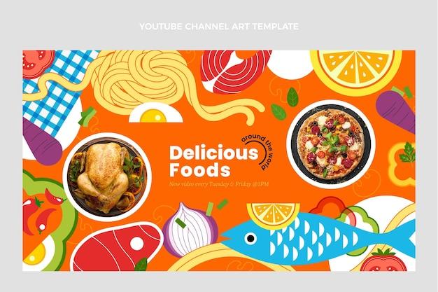 Modèle d'art de chaîne youtube alimentaire design plat