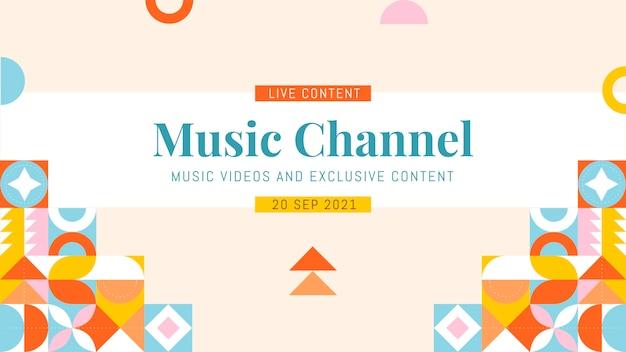 Modèle d'art de chaîne youtube en mosaïque plate