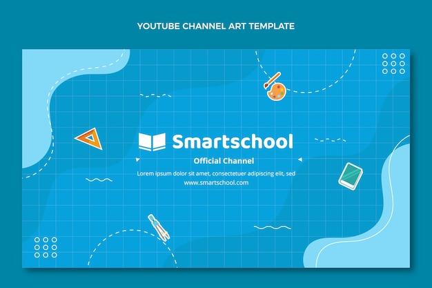 Modèle d'art de chaîne youtube à plat de retour à l'école