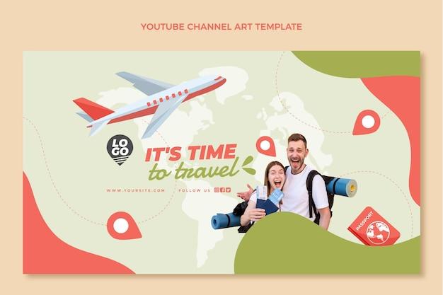 Modèle d'art de chaîne youtube de voyage plat