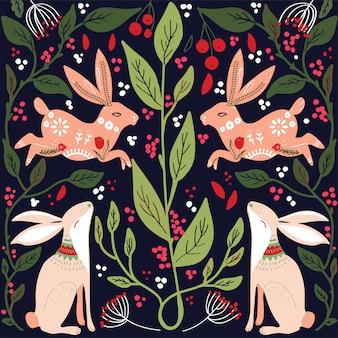 Modèle d'art populaire scandinave avec des oiseaux et des fleurs