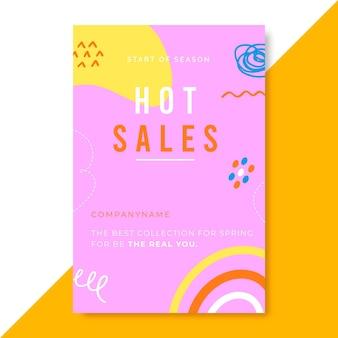 Modèle d'article de blog de vente coloré dessiné à la main