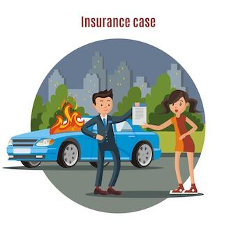 Modèle d'assurance automobile coloré