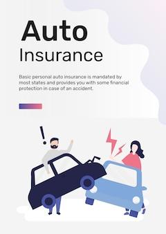 Modèle d'assurance automobile pour affiche