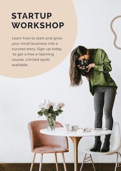 Modèle d'atelier de démarrage avec entreprise de photographe