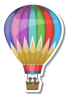 Un modèle d'autocollant avec de l'air en montgolfière isolé
