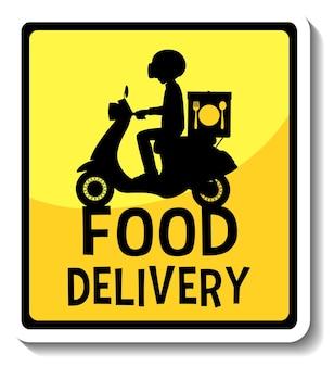 Un modèle d'autocollant avec une bannière de livraison de nourriture isolée