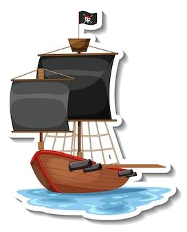 Un modèle d'autocollant avec bateau pirate isolé