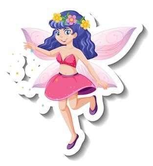 Un modèle d'autocollant avec un beau personnage de dessin animé de fée
