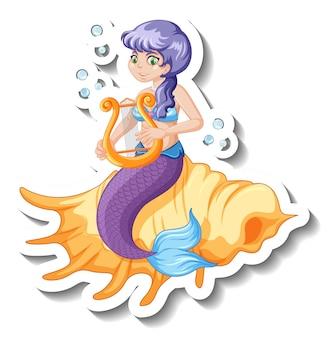 Un modèle d'autocollant avec un beau personnage de dessin animé de sirène