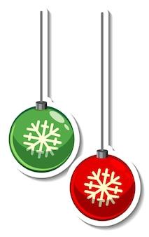 Modèle D'autocollant Avec Boule De Décoration De Noël Isolé Vecteur gratuit