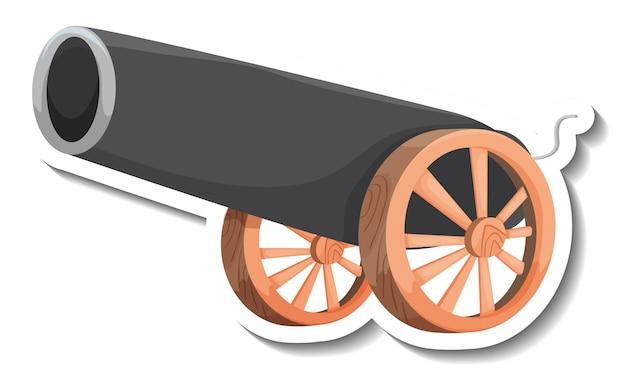 Modèle d'autocollant avec canon isolé