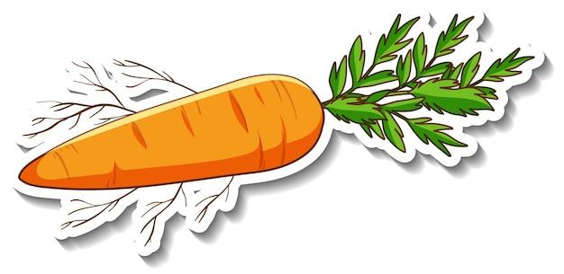 Un modèle d'autocollant avec des carottes de légumes-racines isolées