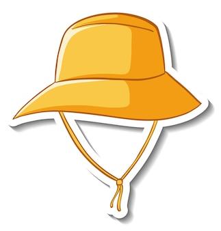 Un modèle d'autocollant avec un chapeau de seau jaune isolé