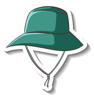 Un modèle d'autocollant avec un chapeau de seau vert isolé