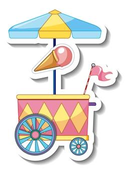 Modèle d'autocollant avec chariot de crème glacée isolé