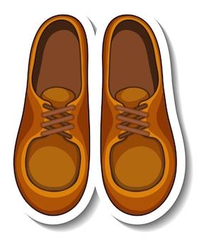 Un modèle d'autocollant avec des chaussures pour hommes isolés