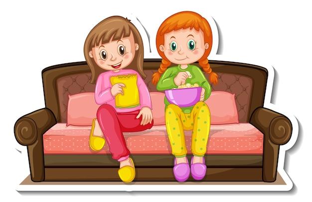Modèle d'autocollant avec deux filles assises sur un canapé isolé