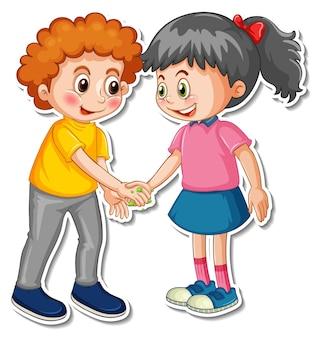 Modèle d'autocollant de deux personnes se serrant la main avec des bactéries et des virus