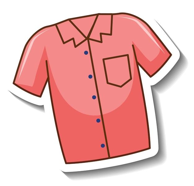 Un modèle d'autocollant avec le devant de la chemise rose isolé
