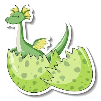Modèle d'autocollant avec dragon fantastique éclos d'un œuf