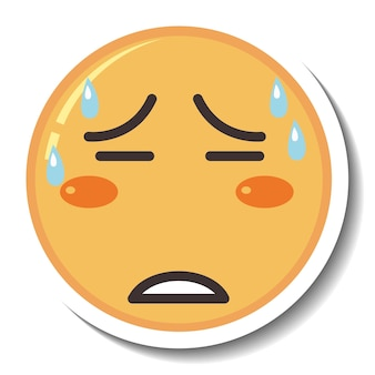 Un modèle d'autocollant avec emoji visage fatigué isolé