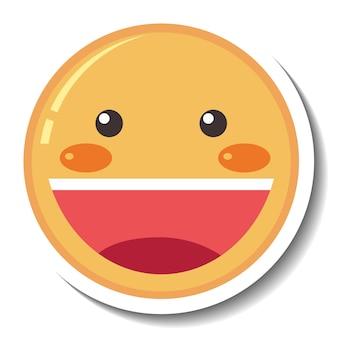 Un modèle d'autocollant avec emoji visage souriant isolé