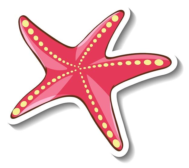 Modèle d'autocollant avec étoile de mer rose en style cartoon isolé