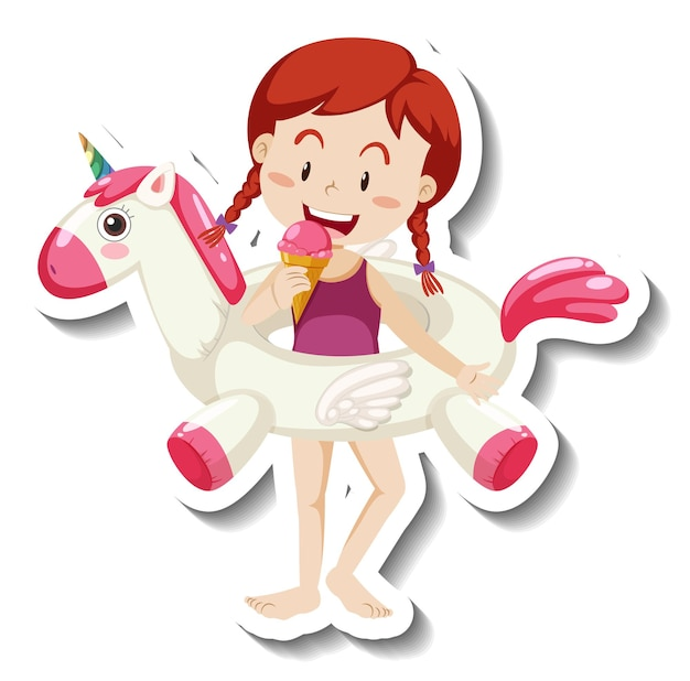 Un modèle d'autocollant d'une fille avec un anneau de natation licorne