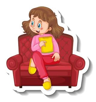 Un modèle d'autocollant avec une fille assise sur un canapé