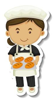 Le modèle d'autocollant avec une fille de boulanger tient un plateau cuit isolé