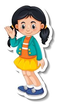 Modèle d'autocollant avec une fille debout posant un personnage de dessin animé isolé