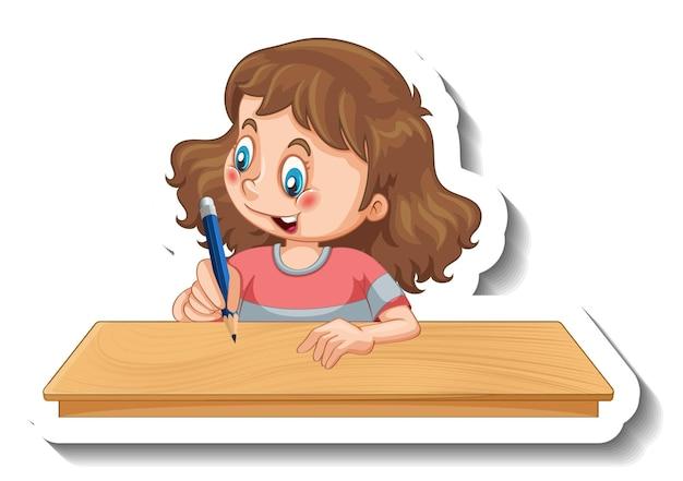 Modèle d'autocollant avec une fille écrivant sur le personnage de dessin animé de table isolé