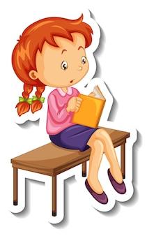 Modèle d'autocollant avec une fille lisant un livre isolé