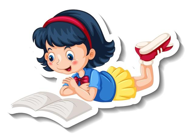 Modèle d'autocollant avec une fille lisant un personnage de dessin animé de livre isolé