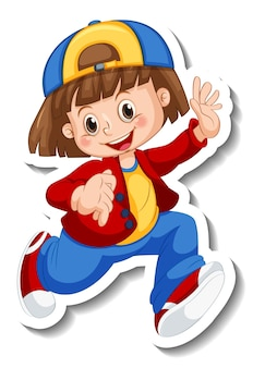 Modèle d'autocollant avec une fille en marchant posant un personnage de dessin animé isolé